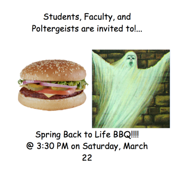 The 'Spring Back to Life BBQ' poster.