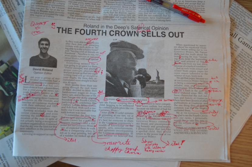 Working to improve your proofreading skills! Combing through 'The Weekly' with even a half-toothed comb will give you plenty of opportunity to use that red pen of yours!