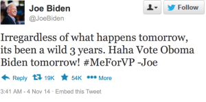 Vice President Biden's only statement on his hopes for reelection was this tweet.