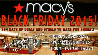 An advertisement from Macy's department stores, outlining the main draws of the early start of Black Friday 2015.