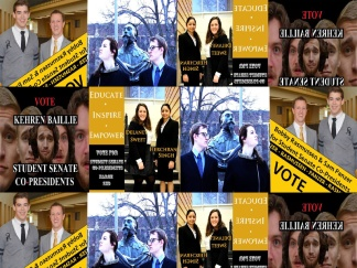 A medley of various campaign posters put out by the four candidate pairs, who disagree on many issues, including their names, years, and majors.