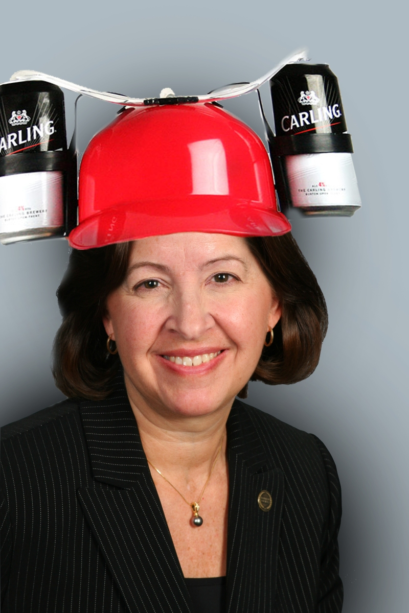 We Photoshopped a Beer Helmet on a Photo of Becky Bergman and We're Really Sorry About It